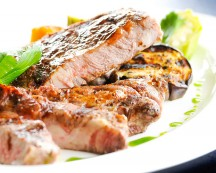 Steak Grill with Marga Garlic sauce served with grilled eggplant
